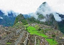 Machu Picchu - Acryl-u. Paletten-Messer-Farbe auf Segeltuch Lizenzfreie Stockfotos