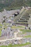 Machu Picchu, Aguas Calientes/Peru - circa im Juni 2015: Terrassen heiliger verlorener Stadt Machu Picchu der Inkas in Peru stockfoto