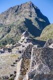 Machu Picchu, Aguas Calientes/Peru - circa im Juni 2015: Terrassen- und Montana Machu Picchu-Spitze in Peru stockfotografie