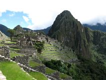 Machu Picchu in the Andes Peru. World Heritage Site and top tourist attraction stock photos