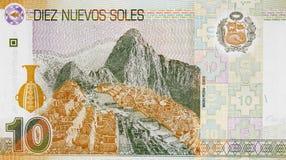 Machu Picchu auf der Sohlenbanknote 2009 Peru-Währung 10, peruanisch stockbilder