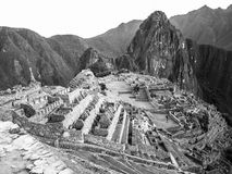 Machu Picchu in black and white Royalty Free Stock Photos