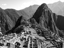 Machu Picchu in black and white Stock Photos