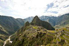 Machu Picchu. Classic view of the Inca citadel of Machu Picchu Stock Image