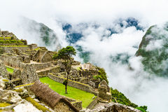Machu Picchu and the clouds Stock Image