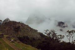 Machu Picchu con la nebbia di mattina Fotografia Stock