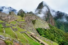 Machu Picchu panorama view to ruins and mountains stock image