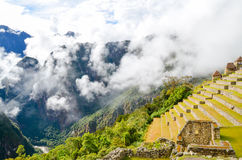 MACHU PICCHU, CUSCO REGION, PERU- JUNE 4, 2013: Details of the residential area of the 15th-century Inca citadel Machu Picchu Royalty Free Stock Photography