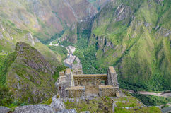 MACHU PICCHU, CUSCO REGION, PERU- JUNE 4, 2013: Panoramic view of Machu Picchu mountains from Huayna Picchu Royalty Free Stock Images