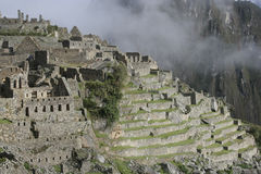 Machu Picchu dans le brouillard, Pérou, Amérique du Sud photos stock