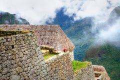 Machu Picchu detalló la opinión a las ruinas y a las montañas Imagen de archivo libre de regalías