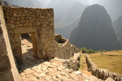 Machu Picchu doors and area. Inside Machu Picchu ruins in Peru Stock Photo