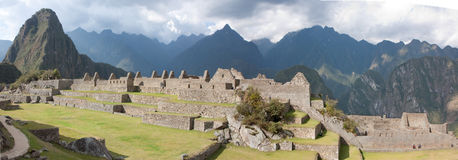 Machu Picchu, Eastern Urban Sector. The Eastern Urban Sector of Machu Picchu with Wide Plazas in the Foreground Royalty Free Stock Photography