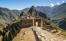 Machu Picchu entrance in ruined city Stock Image
