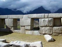 Machu Picchu fördärvar väggen Arkivfoto