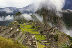 Machu Picchu in fog Royalty Free Stock Photography