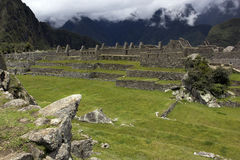 Machu Picchu. On a foggy day royalty free stock image