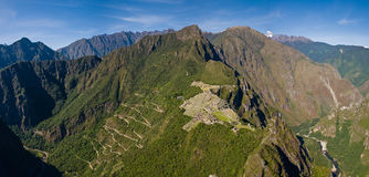 Machu picchu från Huayna Picchu royaltyfri bild
