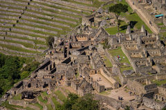 Machu picchu from Huayna Picchu houses and terraces Royalty Free Stock Photo