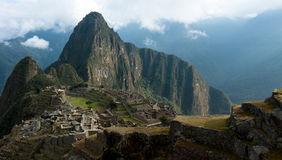 Machu Picchu, Huayna (Wayna) Picchu behind it. Royalty Free Stock Photo