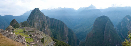 Machu Picchu with Huayna (Wayna) Picchu behind. It and mount Putucusi to the right Royalty Free Stock Image