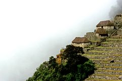 Machu Picchu Huts. This image was shot within the Machu Picchu compound Stock Photo