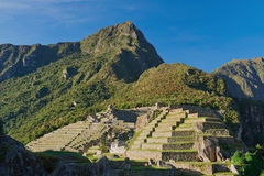 Machu picchu inca heritage town. On bright vivid day. Travel to Peru stock image