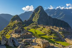 Machu Picchu Inca Ruin bei Sonnenuntergang, Cusco-Provinz, Peru lizenzfreies stockbild