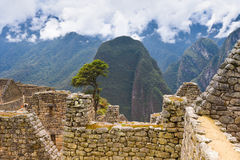 Machu Picchu Inca Ruins in the cloud Royalty Free Stock Photos