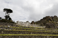Machu Picchu Inca Ruins Three Windows And Walls Royalty Free Stock Photo