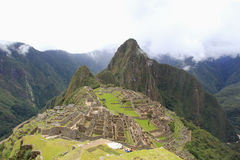 Machu Picchu Inca's Town. View from the terraces of the old Inca fortified town of Machu Picchu stock photos