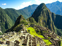 Machu Picchu - lost city of Incas. Historical citadel above Sacred Valley with Urubamba River in Peru. Machu Picchu, peruvian lost city of Incas situated on royalty free stock photo