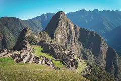 Machu Picchu, the Lost city of the Incas. One of the New Seven Wonders of the World.  royalty free stock photo