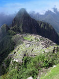 Machu Picchu lost temple city of incas. Peru. Inca lost temple city complex on mountain Machu Picchu in Peru, view with Wayna Picchu. World wonder Stock Photo