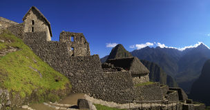 Machu Picchu main entrance. First ruins that are seen after entering Machu Picchu through the main entrance Royalty Free Stock Photos