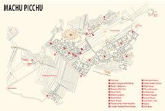 Machu Picchu map. Map of the Inca fortress Machu Picchu in peru stock image