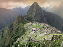 Machu Picchu mysterious city. Peru. Overview of Machu Picchu, Guard house, agriculture terraces, Wayna Picchu and surrounding mountains in the background. World Stock Photography