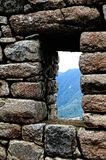 Machu Picchu nella finestra Fotografia Stock Libera da Diritti
