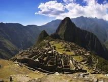 Machu Picchu no sol áspero da tarde fotografia de stock royalty free