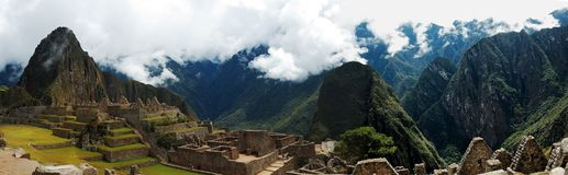 Machu Picchu Panarama. With Wyna Picchu to the left stock photo