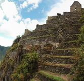 Machu Picchu Panarama. With blue sky above royalty free stock photo