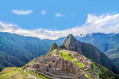 Machu Picchu Panorama. View of Machu Picchu, Peru with Wayna Picchu rising in the background Stock Image