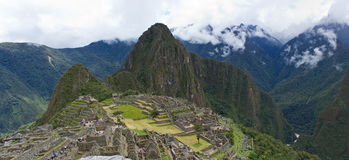 Machu Picchu Panorama. Panorama view of Machu Picchu and Wayna Picchu Peru Royalty Free Stock Photography