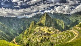 Machu Picchu panoramautsikt Arkivfoto