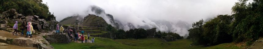 Machu picchu panoramic fog Royalty Free Stock Photography