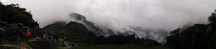 Machu picchu panoramic fog Stock Photography