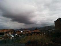 Machu picchu panoramiczna mgła Zdjęcia Royalty Free