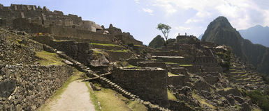 Machu Picchu partial panorama. Panorama view of the lower part of Machu Picchu ruins Royalty Free Stock Photos