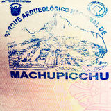 Machu Picchu paszporta znaczek Obraz Royalty Free