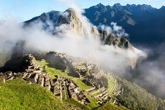 Machu Picchu Perú en las nubes Fotografía de archivo libre de regalías
